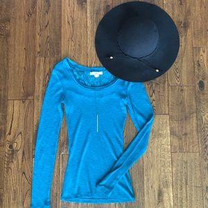 Teal Sweater with Lace Detail